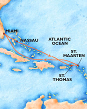 Cruise Map; Miami - Nassau - St Thomas - St Maarten - Miami